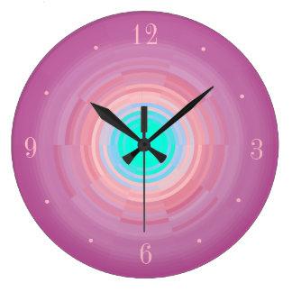 挨りだらけのピンクの渦巻の水の緑のCentre>の柱時計 ラージ壁時計