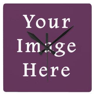 挨りだらけのプラム紫色色の傾向のブランクのテンプレート スクエア壁時計