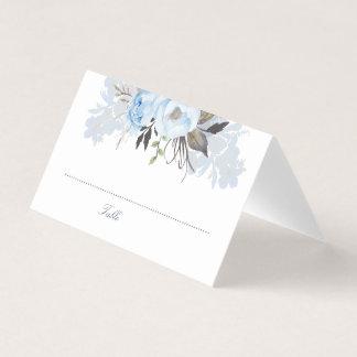 挨りだらけの青い水彩画によってはエレガントなロマンチックが開花します プレイスカード