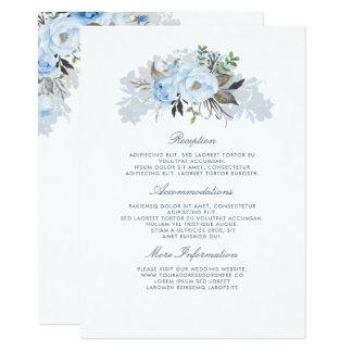 挨りだらけの青い花の結婚式情報ゲスト カード