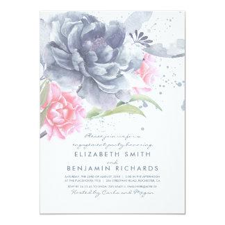 挨りだらけの青く、ピンクの花の婚約パーティ カード