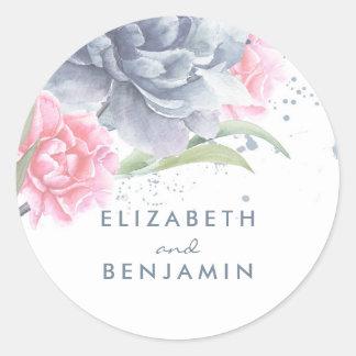 挨りだらけの青く、ピンクの花の水彩画 ラウンドシール