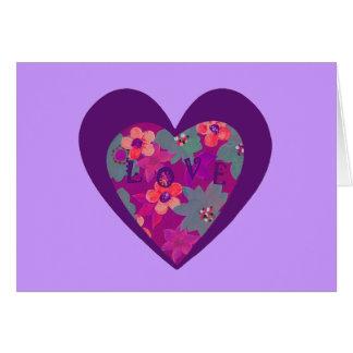挨拶する花とのヒッピー愛ハート カード
