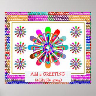 挨拶の文字を加えて下さい: すばらしい花のチャクラの芸術 ポスター