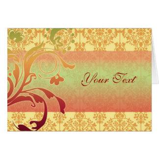 挨拶または招待状カードオレンジ赤の緑 カード