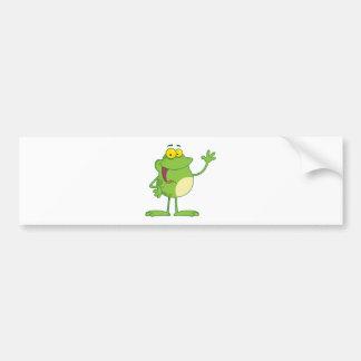 挨拶を振るカエルの漫画のマスコットのキャラクター バンパーステッカー