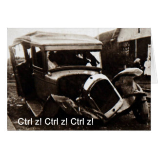 挨拶状の自動車事故のユーモア カード