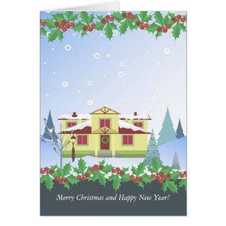 挨拶状-クリスマスおよび新年! グリーティングカード