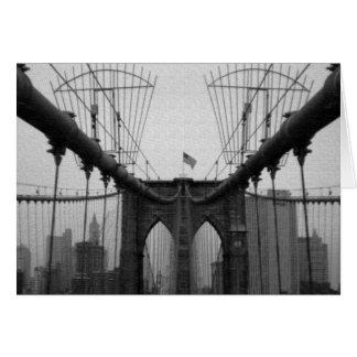 挨拶状:  ブルックリン橋の黒及び白 カード