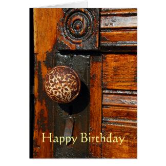挨拶状、旧式なドアが付いているブランク、 グリーティングカード