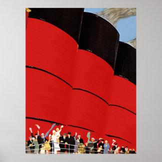 振っているヴィンテージの遊航船の乗客さようなら ポスター