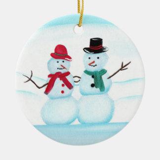振っている雪の人々こんにちは、クリスマスオーナメント セラミックオーナメント