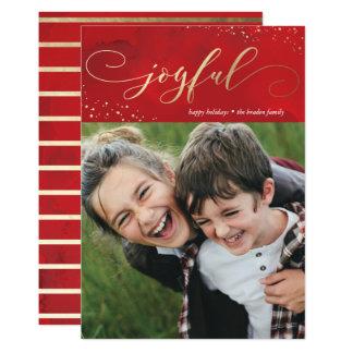 振りかけられた喜び模造のなホイルのクリスマスの休日カード 12.7 X 17.8 インビテーションカード