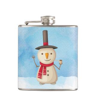 振り、微笑するかわいいクリスマスの雪だるま フラスク