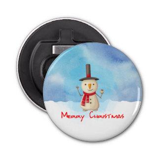振り、微笑するメリークリスマスの雪だるま 栓抜き