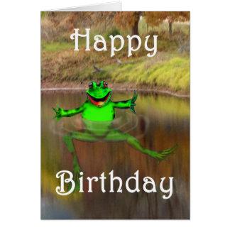 振り、泳いでいる緑カエルハッピーバースデー カード