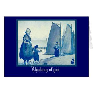 振るヴィンテージのオランダのデザインさようなら カード