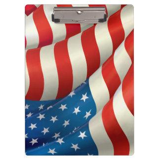振る米国の旗 クリップボード