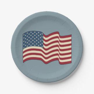 振る米国旗の紙皿 ペーパープレート