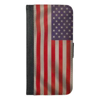 振る米国旗 iPhone 6/6S PLUS ウォレットケース