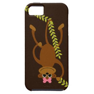 振動つる植物のピンクの弓を持つかわいい女の子猿 iPhone SE/5/5s ケース