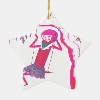 振動のかわいい木の人形 セラミックオーナメント