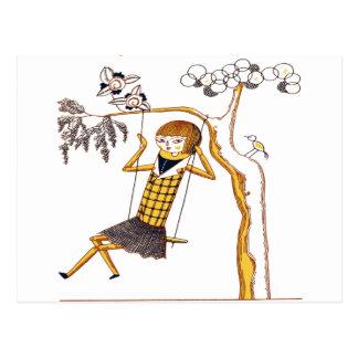 振動のかわいい木の人形 ポストカード