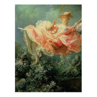 振動を絵を描くジーンHonore Frangonardのロココ ポストカード