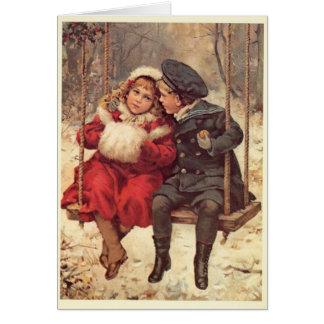 振動クリスマスの子供 カード
