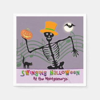 振動ハローウィンパーティの骨組 スタンダードカクテルナプキン