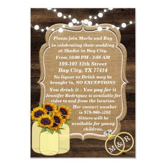 挿入物を結婚する素朴なヒマワリの木ライト カード