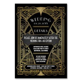 挿入物カードを結婚するアールデコのヴィンテージの黒の金ゴールド カード