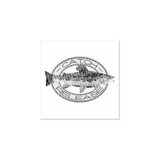 捕獲物および解放のカワマスの魚釣り ラバースタンプ