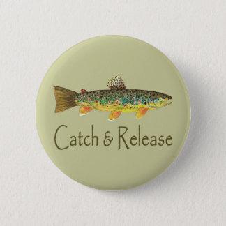捕獲物および解放の魚釣り 5.7CM 丸型バッジ