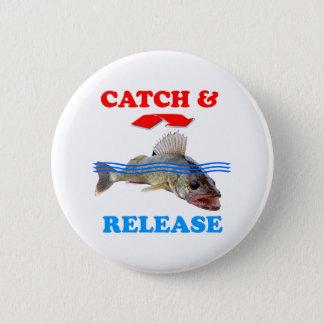 捕獲物及び解放のWalleyeの魚釣り 5.7cm 丸型バッジ