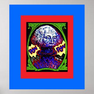 捕虜!! お金はポスターポップ・アートので赤い青CHを爆破します ポスター