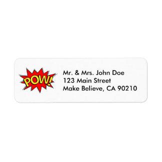 捕虜! -スーパーヒーローの漫画本の赤くか黄色の泡 返信用宛名ラベル
