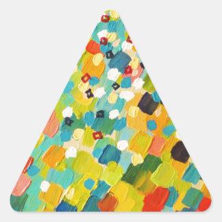 掃除された遠くにな3 -新しい緑のカラフルな虹の海 三角形シール
