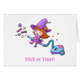 掃除機のトリック・オア・トリートのかわいく小さい魔法使い グリーティングカード