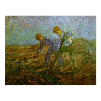 掘っている2人の小作人ゴッホのファインアート ポストカード