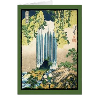 掘っ建て小屋の上の東洋の絵画の滝 カード