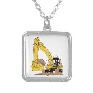 掘削機 シルバープレートネックレス