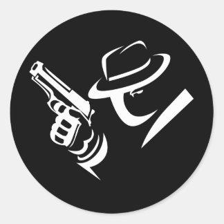 探偵のギャングのステッカー2 ラウンドシール