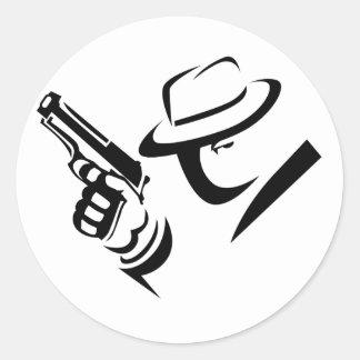 探偵のギャングのステッカー ラウンドシール