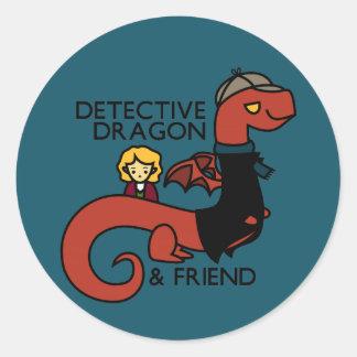探偵のドラゴンおよび友人のパロディ ラウンドシール