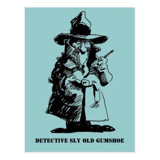 探偵の悪賢いOlのGumshoeの殺人事件推理小説の探偵 ポストカード