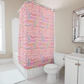 接眼レンズのレトロのモダンなヒップスターのピンクのギンガムガラス シャワーカーテン
