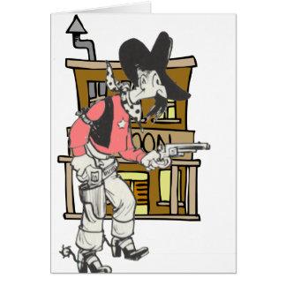 描かれる銃との古いSherrif カード