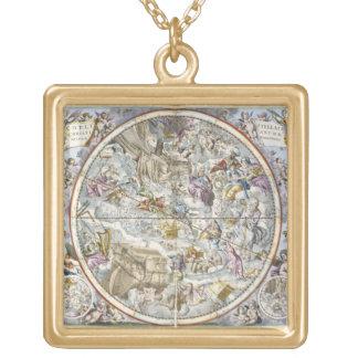 描写されるキリスト教の星座の地図 ゴールドプレートネックレス
