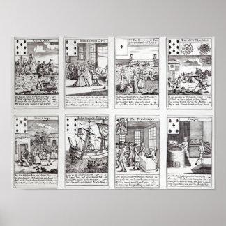 描写する風刺的なトランプのセット ポスター